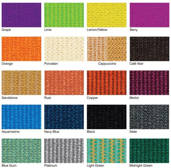 Shade cloth colours